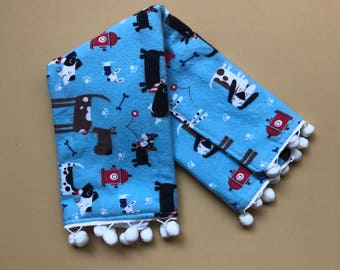 Baby boy burp cloth | Puppies with trim choice