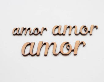 Amor Lettering  - 3 Wooden pieces to decorate or make any type of crafts.