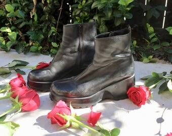 90s vtg chunky heel platform grunge minimalist boot 7.5 8 38