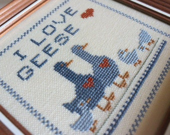 I Love Geese Cross Stitch Framed Goose