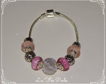 Bracelet pink and silver beads, pandora, European charms
