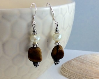 Tigereye Czech Crystal Bead Drop/Dangle Earrings with .925 Silver Wires