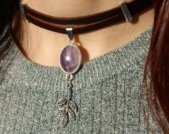 Amethyst, Necklace in natural stone, Choker in Leather
