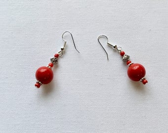 Bright red beaded earrings