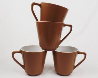 Melamine Melmac Coffee Cup Mugs / Set of 4 / Cocoa Brown Shell White inside
