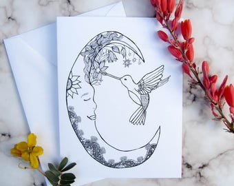 Moon Greeting Cards/Just Because Card/Thinking of You/Hummingbird Notecard Set/Bulk buy cards/Bundle buy cards/ Multi buy cards/CC-40