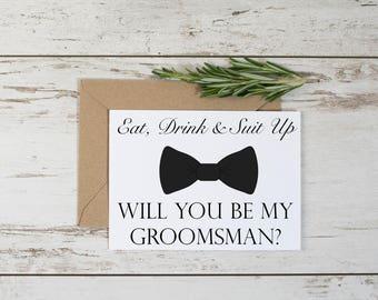 Funny Groomsman Proposal Card Template // Adult Humor // Eat Drink Suit Up // Groomsmen // Groomsman // Digital Download // Printable