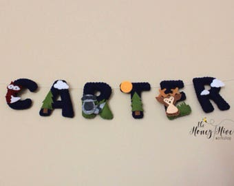 baby room decor woodland woodland animals felt woodland creature nursery woodland name banner