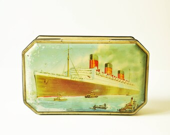 Vintage Benson RMS The Queen Mary Ocean Liner Confectionery Candy Tin