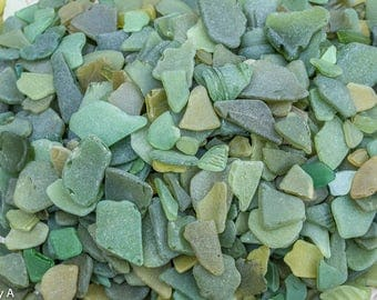 Scottish Beachcombed Sea Glass: Olive Green Sea Worn Pieces for Crafts/Mosaics 100g