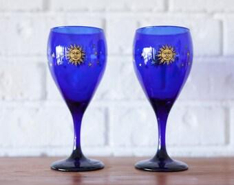 Set of Two Vintage Cobalt Blue Libbey Moon Star Celestial Glass Goblets Wine Glasses