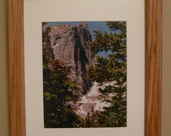 Oak Framed Photo of Mountain with Snow in the Rocky Mountains