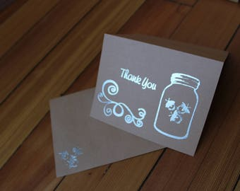 Jar with Fireflies Thank You Card Set of 10 - Heat Embossed Silver on Kraft Paper, Blank Inside