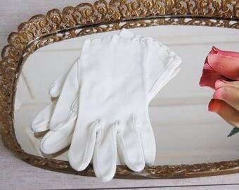 Mid Century White Wedding Gloves
