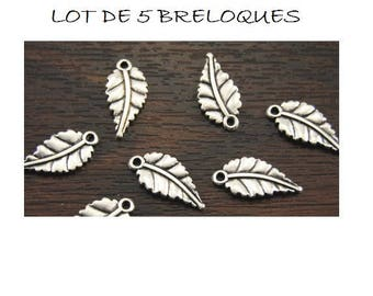 SET of 5 Silver feather (B80) leaf charms