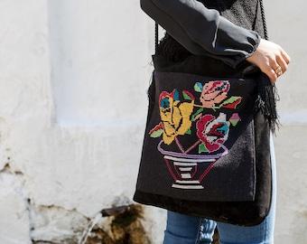 Black Handmade Suede Shoulder Bag from Vintage Hellenic Handcrafted Embroidery