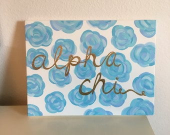 Lily Pulitzer Inspired Blue Floral Sorority Canvas