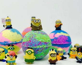 Kids Despicable Me Inspired Minion Birthday Favor/Easter Egg Bath Bomb Sets with Minion Surprise Toy Inside