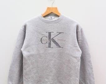 Vintage CK Clavin Klien Jeans Fashion Designer Gray Sweater Sweatshirt Size M