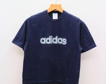 Vintage ADIDAS Triline Big Spell Sportswear Blue Tee T Shirt Size L