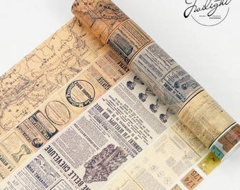 Creative Newspaper Map Gothic Washi Tape ~ Retro Style Wide Washi Tape, Vintage Deco Tape, Masking Tape, Scrapbooking Stickers, Crafts Tape