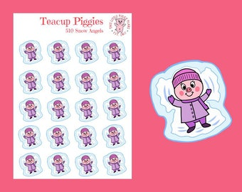 Teacup Piggies - Snow Angel Oinkers - Mini Planner Stickers - Snow Day Stickers - Snow Angels - Winter Stickers - Snow - Holiday - [510]