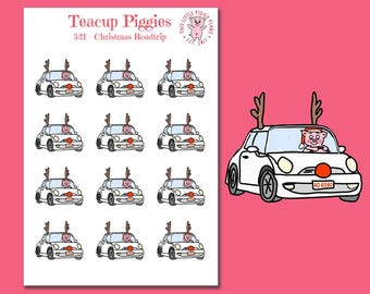 Teacup Piggies - Christmas Roadtrip Oinkers - Mini Planner Stickers - Reindeer - Christmas Stickers - Roadtrip Stickers - Holiday - [521]