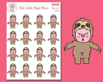 Sloth Oinkers - Sloth Planner Stickers - Sloth Mode - Planner Stickers - Lazy Day Planner Stickers - Sloths - Pig Stickers - [Misc. 1-61]