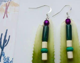 Green long earrings