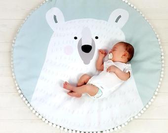 Play mat POLAR TEDDY BEAR, playmat for babies, child rug, teddy playmat, baby shower gift, newborn gift, nursery rug, kid play mat, baby mat