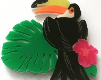 Laser Cut Acrylic Toucan Brooch - Bird Jewellery - Perspex accessories - plastic Brooch