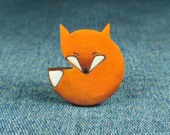 Fox brooch - Wooden fox brooch, fox pin badges, fox jewelry