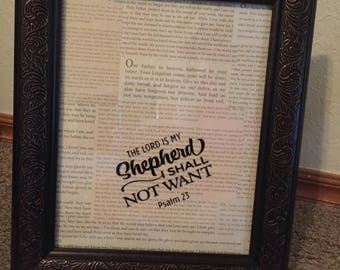 Framed, The Lord Is My Shepherd, 8 X 10, Scripture, Inspirational