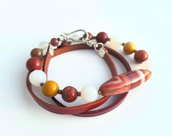 Triple wrap leather bracelet / necklace with natural stones