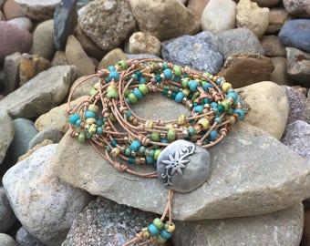 Tan Leather Beaded Wrap Bracelet/Necklace