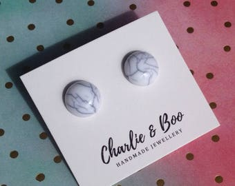 Marble Studs - Grey Marbled Earrings - Marbled Jewellery - Acrylic Studs - 12mm studs