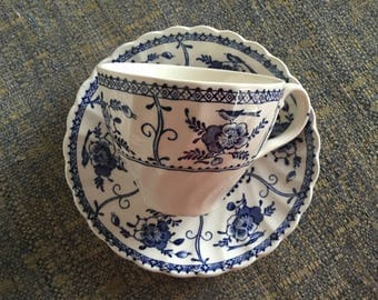 "Johnson Bros ""Indies"" tea duo Made in England Vintage china Blue and white collectibles"