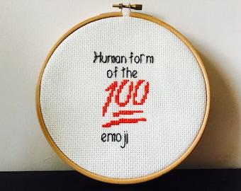 Brooklyn 99 Inspired Cross Stitch Art- Gina Linetti Quote 'Human form of the 100 emoji'