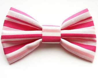 Pink stripe dog collar bow tie