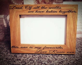 Dad of all the Walks we have taken together this one is my favourite, wedding photo frame, personalised wood frame, father of the bride, 5x7