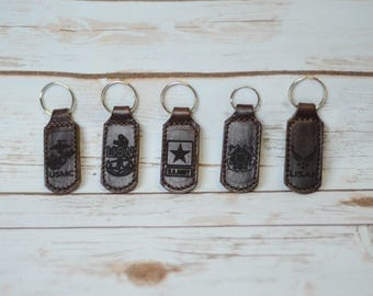 Leather Armed Forces Keychain