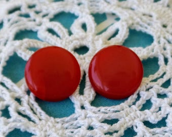 Vintage Red Moonglow Button Clip On Earrings