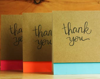 SET OF 3: handettered, neon, colorblock thank you cards
