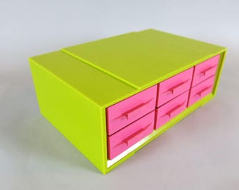 1960's Retro Pink & Green Akro-Mils 6 Drawer Storage Parts Bin