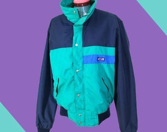 Vintage CB Sports Colorblock Lightweight Jacket Blue Teal Medium Early 90s Boxy Cut Great Colors And Details Normcore Streetwear