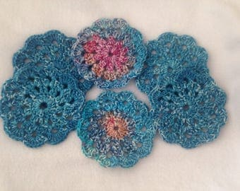 Doily Coasters, Blue and bright whitewashed coasters, flower coasters, set of 6 coasters