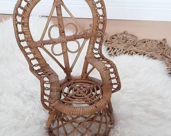 Mini Rattan Peacock Chair for Dolls