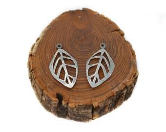 Leaf Hoop Charm/ Earring Jackets Oxidized Sterling Silver