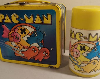 1980 Vintage Pac-Man Metal Lunchbox With Thermos