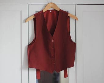 Vintage Vest Burgundy Dark Red sleeveless Top Elegant Formal Women Girls Clothing Elegant Smart / Extra small size